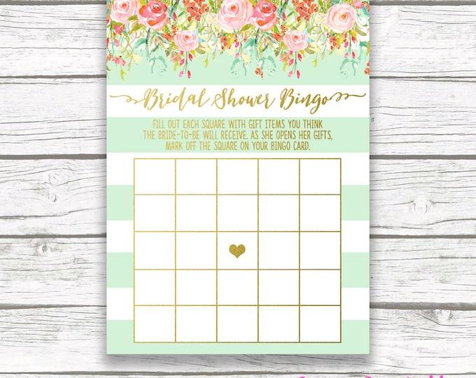 Bridal Bingo Game, Floral Bridal Shower Bingo Game, Printable Bingo Card, Mint and Gold Bridal Shower, Garden Bridal Shower