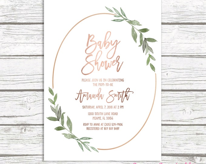 Rose Gold Leaf Baby Shower Invitation, Rose Gold Baby Shower Invitation, Leaf Baby Shower Invite, Gender Neutral Baby, Botanical Invitation
