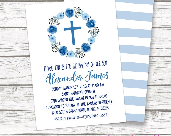 Blue Boy Baptism Christening Invitation, Watercolor Floral Wreath Cross Boho Stripe Invite, First Communion, Printed or Printable Invitation