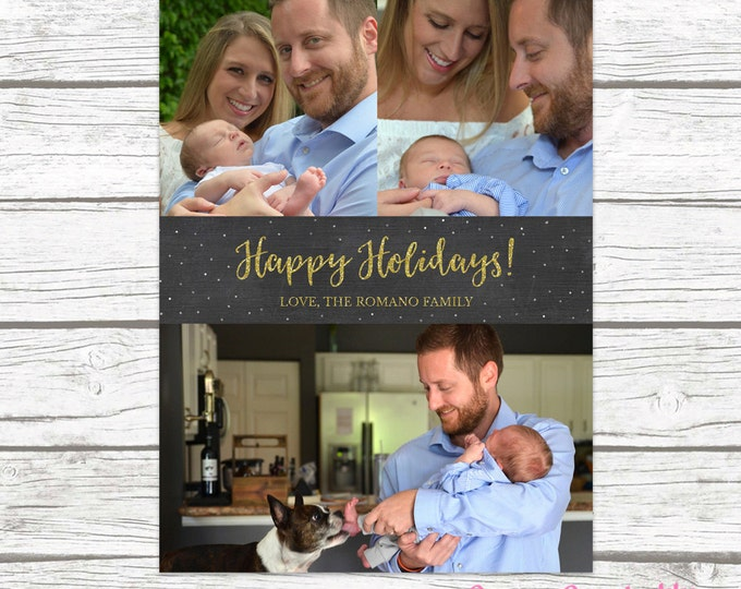 Chalkboard Holiday Card, Holiday Photo Card, Happy Holidays Card, Gold Holiday Card, Chalkboard Christmas Card, Printable Card