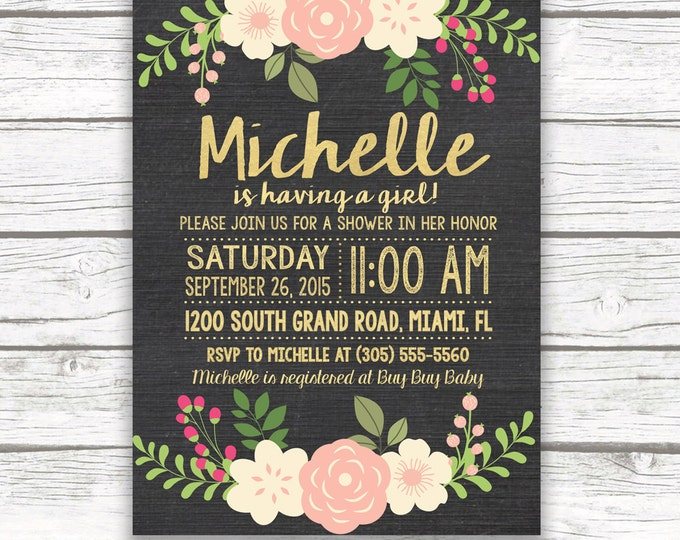 Chalkboard Peach and Gold Foil Floral Baby Shower Invitation, Pink Peach Flower, Printed or Printable Invitation, Matching Back