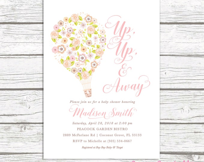 Floral Hot Air Balloon Baby Shower Invitation, Hot Air Balloon Invitation, Up Up and Away, Pink Baby Shower, Floral Baby Shower Invite Girl