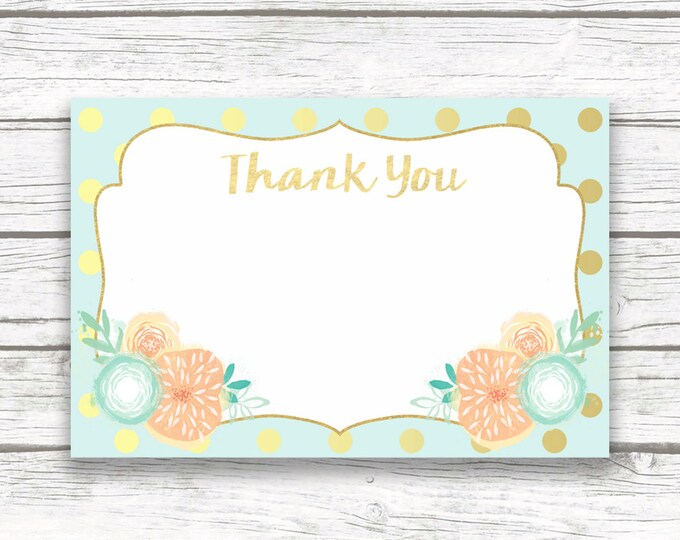 Peach and Mint Gold Foil Thank You Cards, Hot Air Balloon Printable Girl Birthday Baby Shower Thank You Note Card, French Flower Parisian