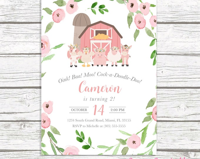 Farm Birthday Invitation Girl, Farm Birthday Party Invitation, Pink Farm Birthday Invite, Floral Barnyard Birthday Invitation Printable