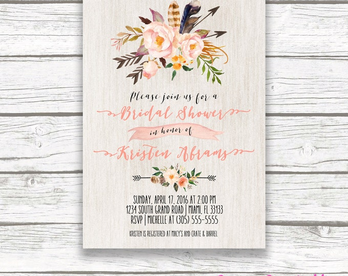 Boho Floral Bridal Shower Invitation, Peach Pink Feather Arrow Tribal Watercolor Flower Invite, Wood Aztec Southwestern Bohemian, Printable