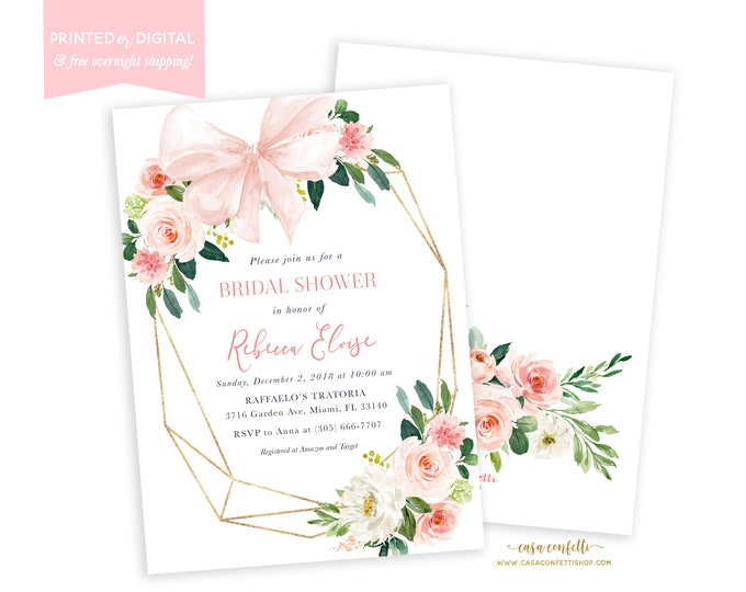 Bridal Brunch Invitation, Geometric Bridal Shower Invitation, Blush Invite, Bow, Pink Floral, Printed or Printable