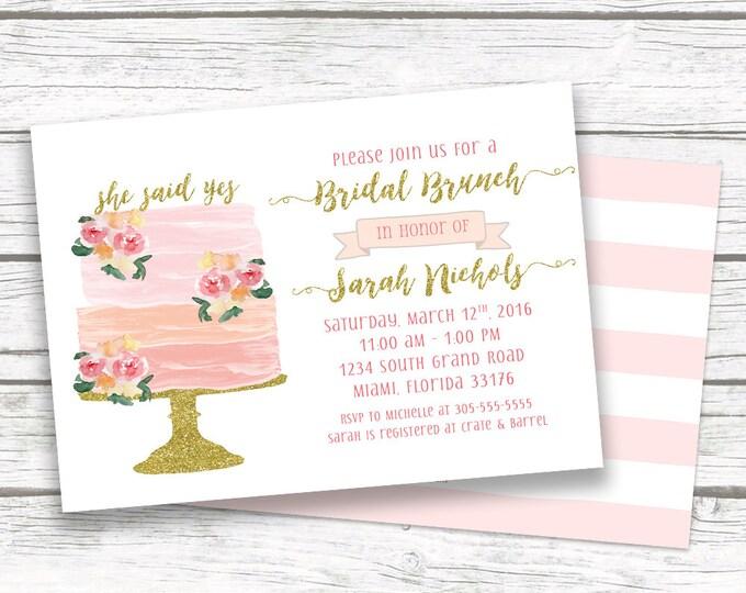 Bridal Shower Brunch Invitation, Bridal Brunch Invitation, Cake Bridal Shower Invitation, Pink and Gold Bridal Shower Invite, Printable