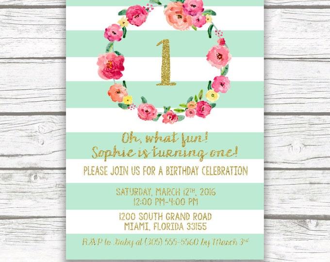 Aqua First Birthday Invitation, Girl First 1st Birthday Invitation, Mint Birthday Invitation, Pink Floral Birthday Invite, Printable