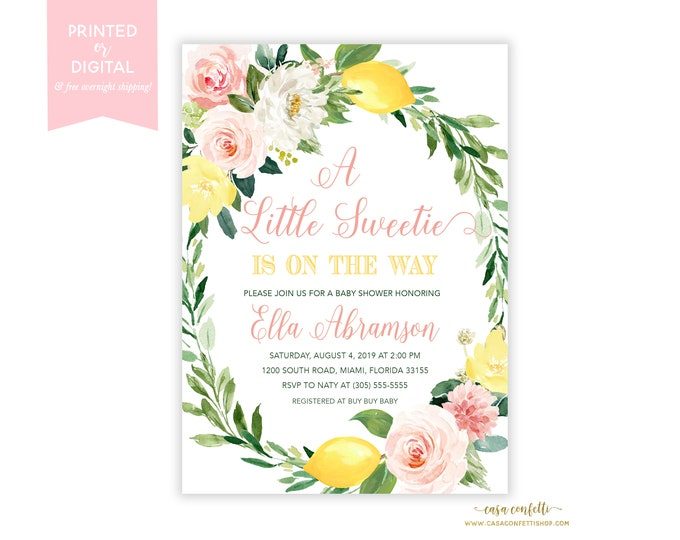 Pink Floral Lemon Baby Shower Invitation Girl, Citrus Baby Shower, A Little Sweetie is on the Way Floral, Pink Lemonade Baby Invite