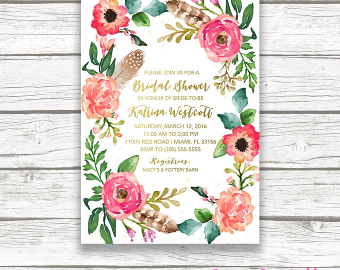 Boho Floral Wreath Bridal Shower Invitation, Gold Foil Watercolor Feather Flower Wedding Invite, Pink Coral Southwestern Bohemian, Printable