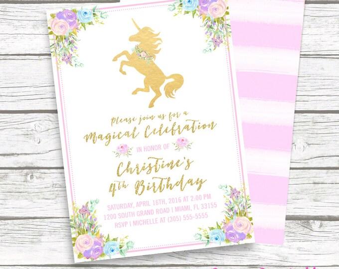 Unicorn Invitation, Unicorn Birthday Invitation, Girl 1st First Birthday Party Invitation, Pastel Floral Gold Glitter Printable Invitation