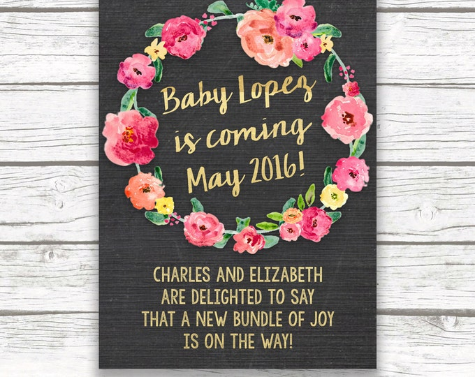 Chalkboard Gold Foil Baby Announcement, Chalkboard Pregnancy Announcement, Pink Floral Wreath, Printed or Printable, Matching Back