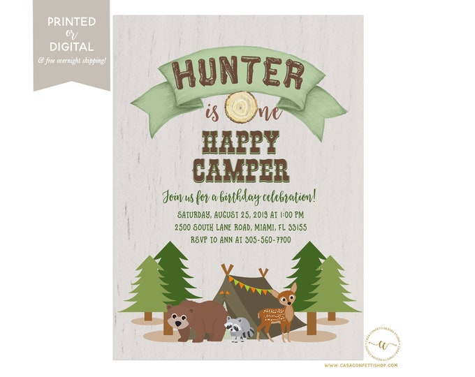 Happy Camper Birthday Invitation Bear, First Birthday Camping Invitation, One Happy Camper Birthday Party Invite, First Birthday Boy