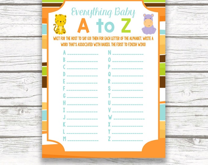 Safari Jungle Animal Baby Shower Game Everything Baby A to Z Card, Printable Card, Safari Baby Shower Games for Baby, Baby Boy Shower