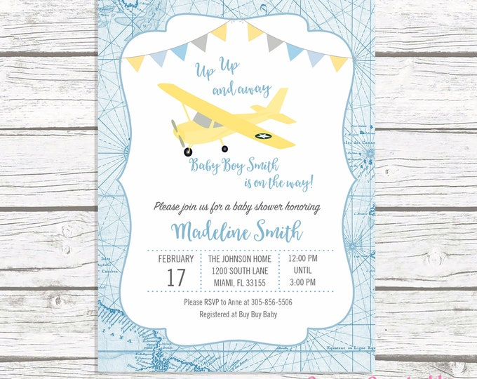 Airplane Baby Shower Invitation, Boy Baby Shower Up Up and Away Invitation, Map Adventure Awaits Baby Shower Boy, Blue Yellow Gray