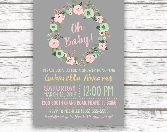 Oh Baby Gold Foil Boho Baby Shower Invitation, Pink and Mint Green Rustic Floral Wreath, Peach Gray, Baby Girl, Printed Printable Invitation