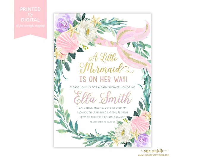 Pink Mermaid Baby Shower Invitation Girl, Under the Sea Baby Shower Invitation, Pastel Mermaid Theme Baby Shower Invite, Pink and Gold