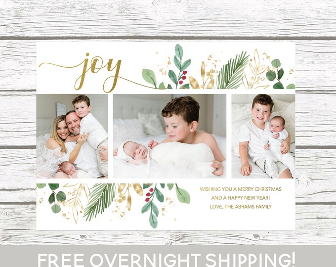 Joy Christmas Photo Card Multiple, Leaves Christmas Photo Card, Floral Christmas Card, Landscape Holiday Card, Greenery and Gold