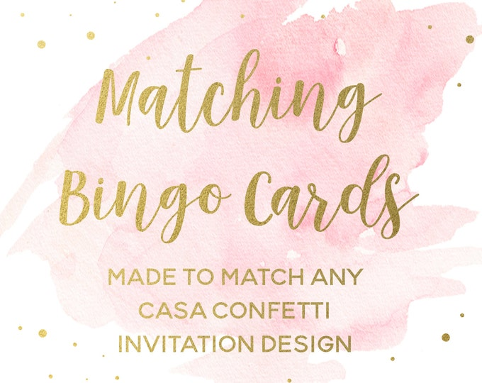 Matching Bingo Cards for any Design, Custom Baby Shower Bingo Cards, Bridal Shower Bingo Cards, Coordinating Party Printables