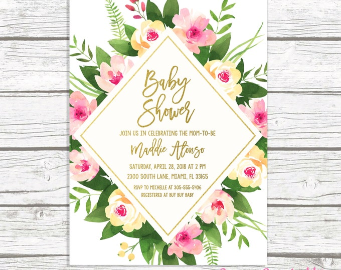 Bridal Shower Brunch Invitation, Tropical Bridal Shower Invitation, Floral Bridal Shower Invitation, Pink and Green Bridal Shower Invite