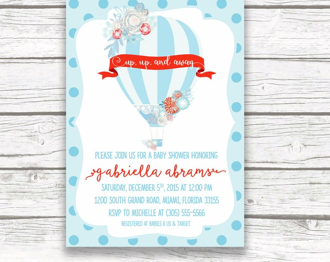 Hot Air Balloon Baby Shower Invitation, Floral French Parisian Chic, Blue and Red Baby Boy Shower Invite, Printed or Printable Invitation