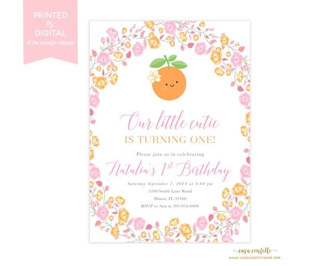 Our Little Cutie Birthday Invitation Girl, Orange Birthday Invite, Tutti Frutti Theme, Pink and Orange Birthday, Fruit Birthday Party Summer