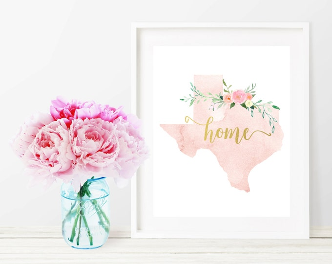 Texas State Silhouette Art Print, Pink Watercolor Map Printable Home Nursery Decor, Floral Wall Art, Gold 8x10 Art Print, Dorm Decor