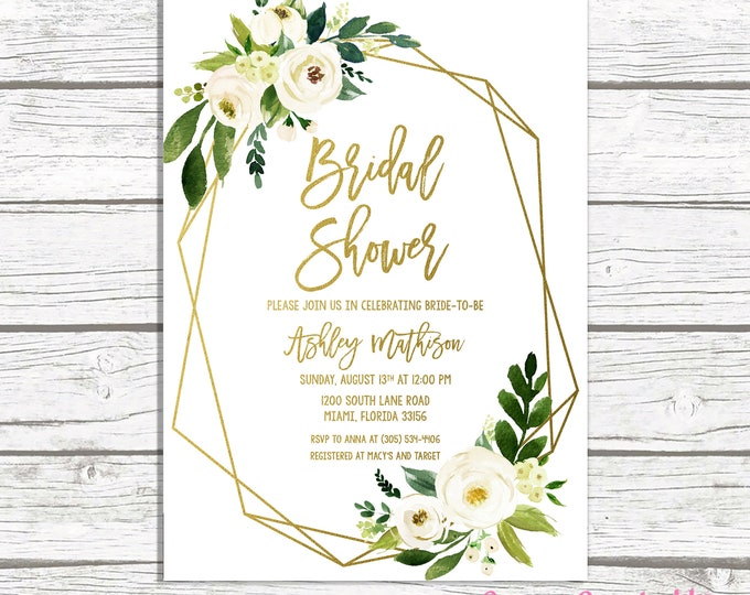 White Floral Bridal Shower Invitation, Geometric Frame Invitation, Bridal Brunch, White and Gold Bridal Shower, Bridal Shower Invite