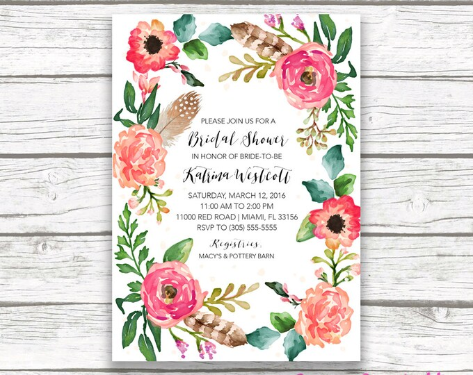 Boho Floral Wreath Bridal Shower Invitation, Watercolor Feather Flower Wedding Invite, Pink Coral Southwestern Bohemian, Printable