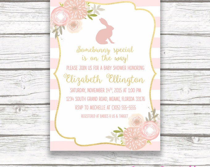 Bunny Pink and Gold Baby Shower Invitation, Somebunny Special is on the Way Easter Girl Pink Pastel Floral, Gold Foil Printed Printable