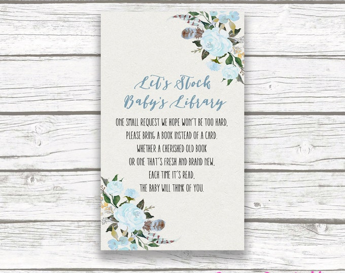 Blue Boho Bring a Book Instead of a Card Stock Baby's Library Baby Boy Shower Invitation Insert, Bohemian Rustic Feather Floral, Printable