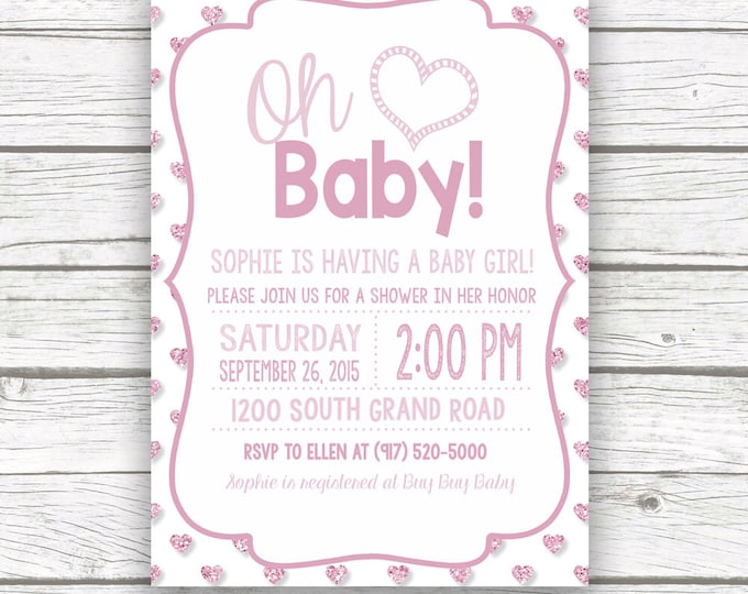 Oh Baby Pink Glitter Baby Shower Invitation w/ Matching Back, Pink Heart Sparkly Baby Girl Shower Invite, Printed or Printable Invitation