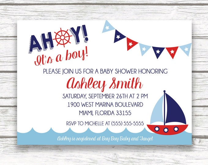 Nautical Baby Shower Invitation, Anchor Boat Invitation, Ahoy It's a Boy Baby Shower, Printed or Printable Invitation