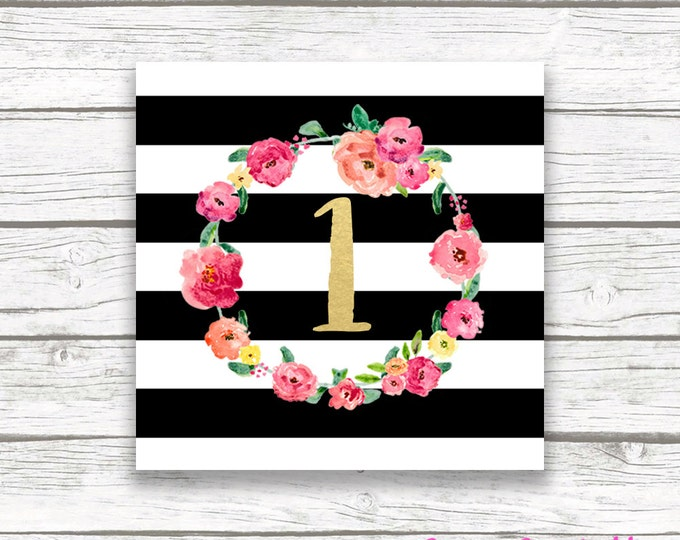 """Black and White Floral Square Favor Tags, Gold Foil Pink Floral Wreath One First 1st Birthday Party Printable 2"""" Favor Tag Stickers"""