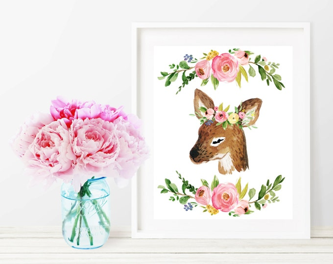 Deer Printable Nursery Decor, Deer Watercolor Floral Wall Art Print, 8x10 Woodland Nursery Digital Art Print, Printable Girl Nursery