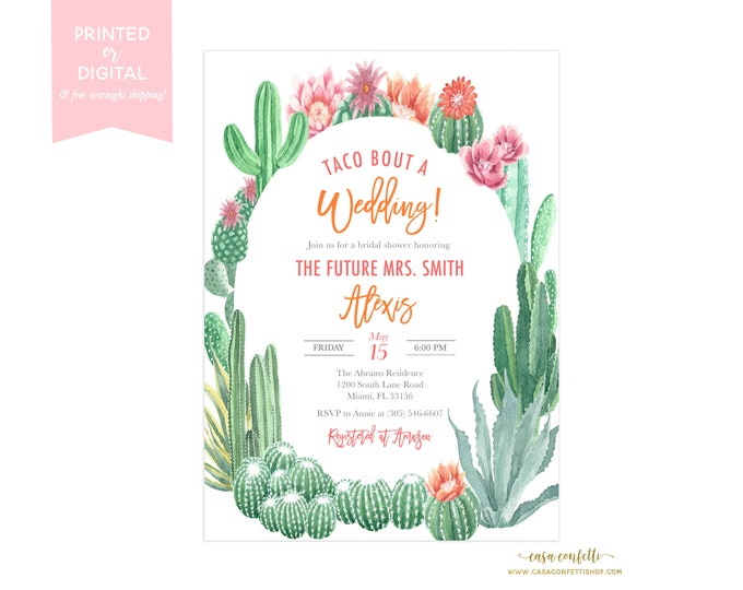 Taco Bout a Wedding Cactus Bridal Shower Invitation, Fiesta Bridal Shower Invitation, Cinco de Mayo Bridal Shower Invite Destination Wedding