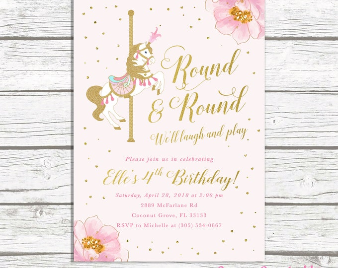 Carousel Girl Birthday Invitation, Carousel Invitation, Girl 1st First Birthday, Pink Circus invitation, Carnival Pink and Gold Carousel