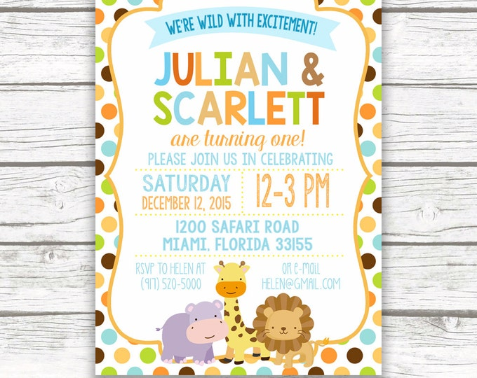 Twin Jungle Safari Birthday Party Invitation, Boy Girl Twins Monkey Animals, First 1st Birthday, Printed Printable Invitation, Matching Back