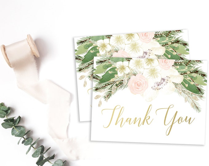 Pink Floral Winter Thank You Cards, Winter Onederland Thank You Note, Winter Wonderland Bridal Baby Shower, Thank You Note Folded or Flat