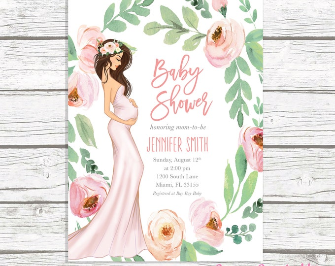 Girl Baby Shower Invitation, Pink Floral Baby Shower Invitation, Boho Pregnant Mom Baby Shower Invitation, Baby Bump Baby Shower Printable