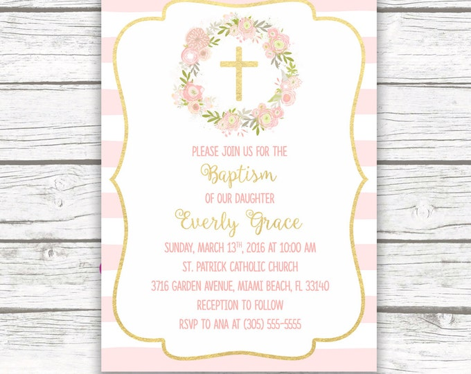 Baptism Invitation Girl, Christening Invitation Girl, First Communion Invite, Pink and Gold Baptism Invitation, Floral Printable Invite