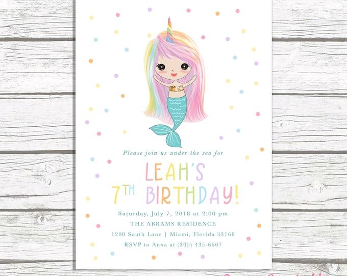 Mermaid Birthday Invitation, Rainbow Mermaid Invitation, Rainbow Mermaid Invite, Unicorn Mermaid Invitation, Unicorn Mermaid Birthday