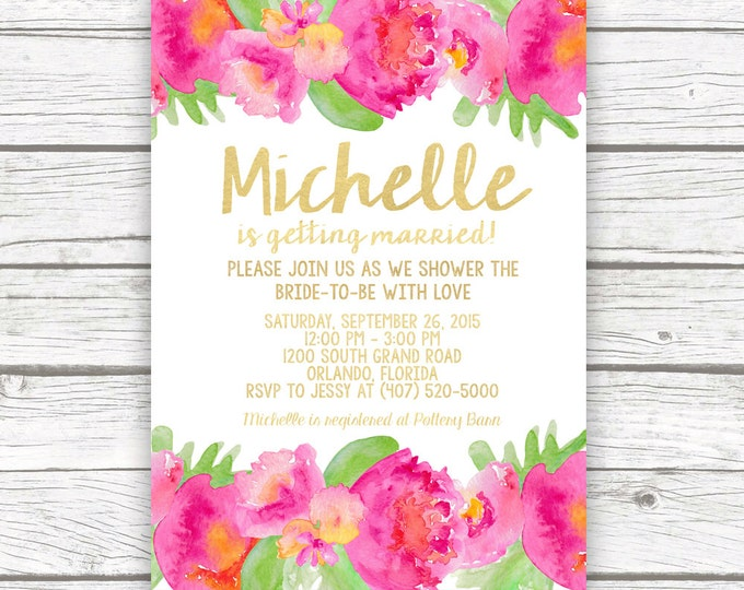 Tropical Bridal Shower Invitation, Luau Bridal Shower Invitation, Garden Bridal Shower Invitation, Hot Pink Bridal Shower, Printable Invite