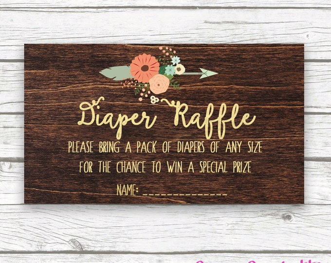 Dark Wood Rustic Antler Boho Baby Shower Diaper Raffle Ticket, Pink and Mint Peach Diaper Raffle Ticket, Girl Boy Shower, Invitation Insert