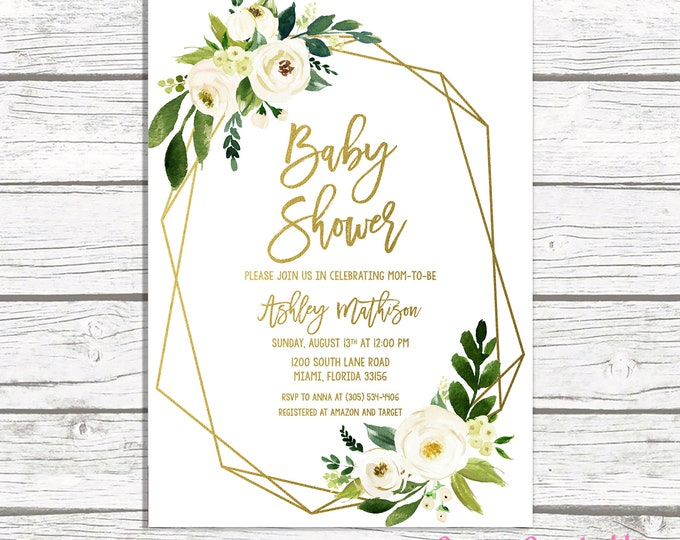 Baby Shower Invitation, Geometric Frame Invitation, Green Baby Shower, Gender Neutral Baby, Gold Baby Shower, Floral Baby Shower Invite
