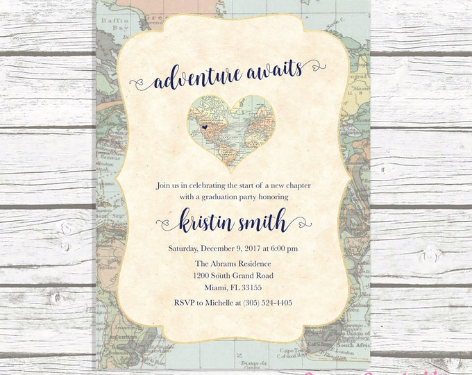 Map Travel Graduation Party Invitation, Adventure Awaits Graduation Invite, Adventure Graduation Announcement, Printable Invitation