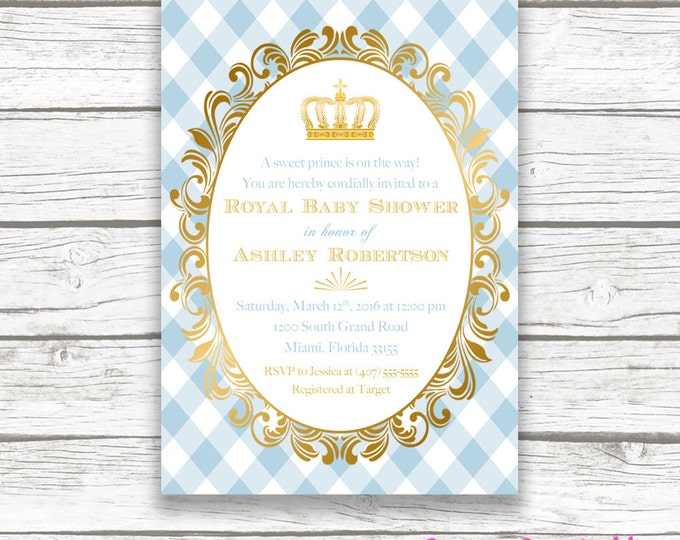 Prince Baby Shower Invitation, Royal Baby Shower, Gold Foil Crown Royal Baby Boy Invite, Light Blue Prince Printable Invitation