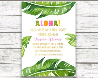 Luau bridal shower invitation etsy tropical bridal shower invitation luau bridal shower invitation banana leaf invitation aloha bridal shower invite printable invitation filmwisefo
