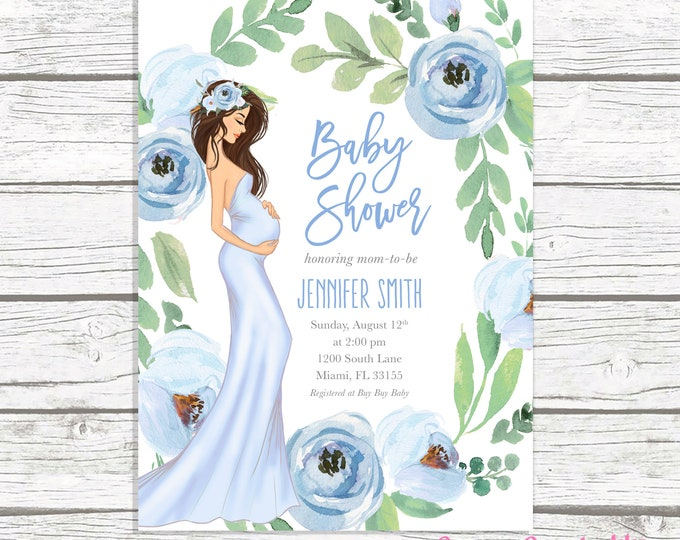 Boy Baby Shower Invitation, Blue Floral Baby Shower Invitation, Boho Pregnant Mom Baby Shower Invite, Baby Bump Baby Shower Printable Invite