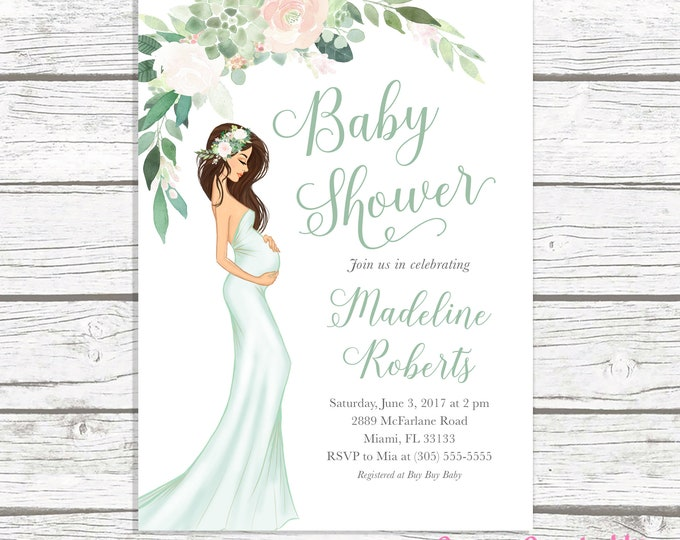 Succulent Baby Shower Invitation, Gender Neutral Baby Shower Invitation, Green Baby Shower Invitation, Boho Pregnant Mom Baby Shower Invite